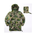 Camo niños packable cinta costura ropa impermeable